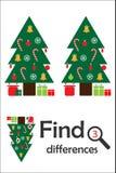 Finna 3 skillnader, jul spelar för barn, xmas-träd i tecknad filmstil, utbildningsleken för ungar, förskole- arbetssedelaktivitet stock illustrationer