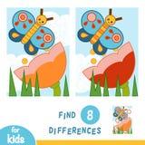 Finna skillnader, utbildningslek Blomma?ng Fj?rilen och blomman stock illustrationer