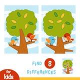 Finna skillnader, utbildningslek En sommardag F?glarna i tr?det royaltyfri illustrationer