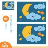 Finna skillnader, utbildningsleken, natthimmel med månen och stjärnor vektor illustrationer
