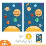 Finna skillnader, utbildningsleken, solsystemplaneter vektor illustrationer