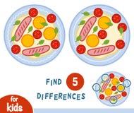 Finna skillnader, utbildningsleken, stekt ägg vektor illustrationer