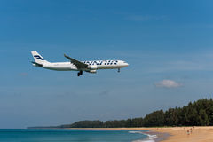 Finnair airbus 330 landing at phuket airport Royalty Free Stock Photo