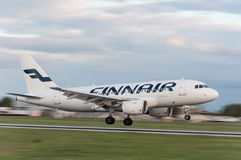 Finnair Airbus A-319. Landing at Prague airport Royalty Free Stock Photos