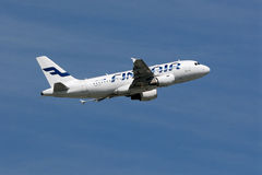 Finnair Airbus A319-112 take off at Frankfurt Airport Stock Images