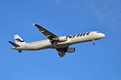 Finnair airliner. Finnair Airbus A321 airliner approaches Helsinki-Vantaa airport. Photo taken on: April 16th, 2014 Stock Images
