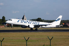 Finnair airplane landing Stock Photo