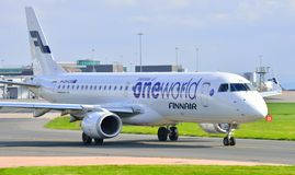 Finnair Embraer 190. Taxiing at Manchester Airport Stock Photos