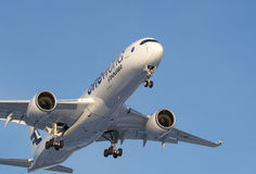 Finnair new Airbus A350-900 landing Royalty Free Stock Image