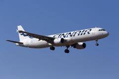 Finnair på sista inställning Royaltyfria Bilder