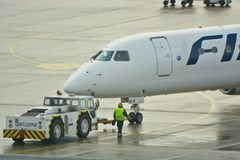 Finnair plane outputting Royalty Free Stock Images