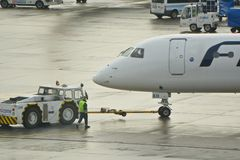 Finnair plane outputting Royalty Free Stock Photography