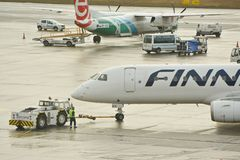 Finnair plane outputting Stock Photo