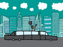 Finnancial town is mine. Succesful businessman riding his limo Royalty Free Stock Image