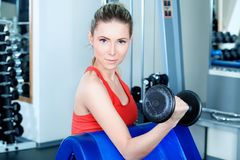 Finness centre. Young sporty woman in the gym centre royalty free stock photos