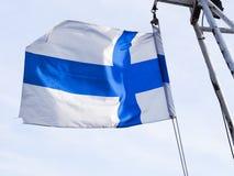 Finnische Flagge stockfoto