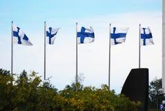 Finnische Flaggen Lizenzfreies Stockfoto