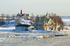 Finnische Häuser auf der Insel nahe Helsinki während des Zeitraums von Stockfotos