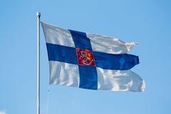 Finnische Markierungsfahne Stockfoto