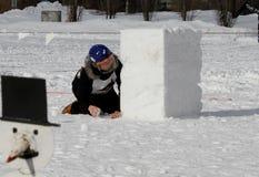 Finnische Meisterschaften 2010 des Yukigassen Schneeballs Stockbilder