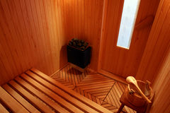 Finnischer Saunainnenraum. Stockfoto