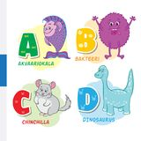 Finnish alphabet. Aquarium fish, bacteria, chinchilla, dinosaur. Vector letters and characters. Royalty Free Stock Photography