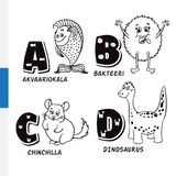 Finnish alphabet. Aquarium fish, bacteria, chinchilla, dinosaur. Vector letters and characters. Stock Image