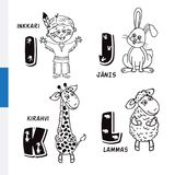 Finnish alphabet. Native American, Rabbit, Giraffe, Sheep. Vector letters and characters. Royalty Free Stock Images