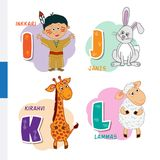 Finnish alphabet. Native American, Rabbit, Giraffe, Sheep. Vector letters and characters. Royalty Free Stock Image