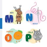 Finnish alphabet. Roe, Needle, Orange, Owl. Vector letters and characters. Royalty Free Stock Image
