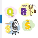 Finnish alphabet. Slingshot, Zebra. Vector letters and characters. Stock Image