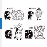 Finnish alphabet. Snail, feijoa, wildebeest, mouse. Vector letters and characters. Royalty Free Stock Images