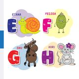 Finnish alphabet. Snail, feijoa, wildebeest, mouse. Vector letters and characters. Royalty Free Stock Image