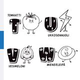 Finnish alphabet. Tomato, Lightning, Watermelon, Viennese. Vector letters and characters. Stock Photo