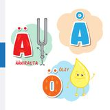 Finnish alphabet. Tuning Fork, Butter. Vector letters and characters. Stock Photo