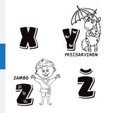 Finnish alphabet. Unicorn, Sambo. Vector letters and characters. Stock Photo