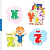 Finnish alphabet. Unicorn, Sambo. Vector letters and characters. Royalty Free Stock Photography