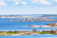 Finnish archipelago with bright blue water. On a sunny day royalty free stock image