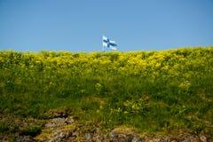 Finnish banner. At Sveaborg in Helsinki stock photos