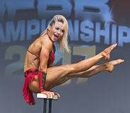 Finnish Beauty Captures toronto Pro Fitness Crown. Finnish beauty Piia Pajunen shows off her strength and agility in the pro women`s fitness competition at the Royalty Free Stock Photography