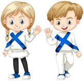 Finnish boy and girl waving hello. Illustration Royalty Free Stock Photo