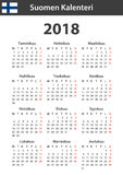 Finnish Calendar for 2018. Scheduler, agenda or diary template. Week starts on Monday Royalty Free Stock Photos