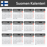 Finnish Calendar for 2018. Scheduler, agenda or diary template. Week starts on Monday Royalty Free Stock Image