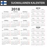 Finnish Calendar for 2018, 2019, 2020. Scheduler, agenda or diary template. Week starts on Monday Stock Images