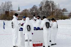 Finnish Championships 2010 of Yukigassen snowball royalty free stock photography