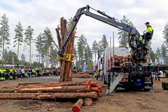 Finnish Championships in Log Loading 2014 at FinnMETKO 2014 Stock Image