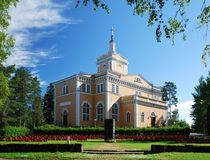 Finnish church and monument of Talvisota. Stock Photo