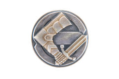 The Finnish civic guards (Suojeluskunta) badge. Of silver metal in the 30s - 40s of the 20th century the times of the Russian-Finnish war and world war II royalty free stock images