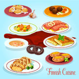 Finnish cuisine dinner dishes icon for menu design Stock Photo