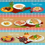 Finnish cuisine restaurant banner with seafood. Finnish cuisine dinner of restaurant menu banner. Salmon steak with fish and rice pie, vegetable fish soup Royalty Free Stock Photos